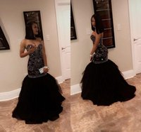 Sparkly Crystal Beading Mermaid Prom Dresses 2018 Sweetheart Tulle Black Gold Abiti da sera nero African Girl