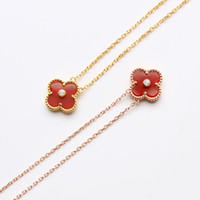 Luxury Necklaces 18k Clover necklace red gemstone pendant ne...