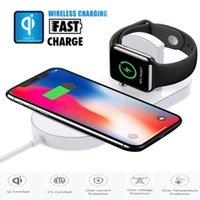 Caricabatterie QI Wireless 2 in 1 per iPhone X iPhone 8 Plus per Apple Watch 7.5W con pacchetto Retail