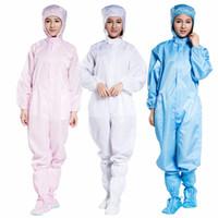 Usine costume à capuche directe salopette anti-statique salle blanche à rayures bleu blanc trois pièces de vêtements de travail anti-statique