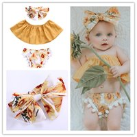 2018 Girls Baby Clothing Sets Yellow Toddler Strapless Tops ...