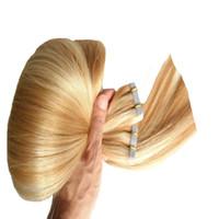 P27 / 613 적용 테이프 접착 성 피부 위장 인간의 머리카락 옹 브 테이프 인간, 머리 확장 실버 회색 머리 확장 금발 머리 헤어 확장