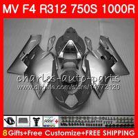 Carrocería para MV Gris plata Agusta F4 1000R 312 1078 1 + 1 750 1000CC 05 06 102HM60 750 R312 750S 1000 R MA MV F4 2005 2006 05 06 Carenado