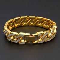 Curb Cuban Bracelet For Men Gold Silver Hip Hop Rhinestones ...