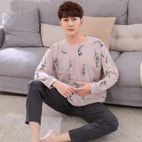 2018 Nuovo Elenco Primavera Autunno pigiama da uomo in cotone pigiama Set stampa pigiameria Suit a maniche lunghe pigiami casuali abiti per la casa per le donne