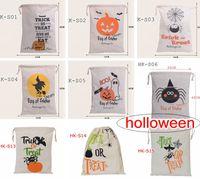 горячие продажи 9style Хэллоуин большой холст сумки Holloween хлопок шнурок сумка с тыквой, дьявол, паук, Hallowmas подарки мешок мешки 36 * 48 см