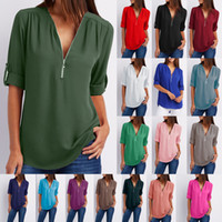 Estate Donna Zipper anteriore profondo scollo a V Ladies Fashion Casual Top Sexy Zipper Blouse -Three Quarter Sleeve Chiffon allentato Canotta