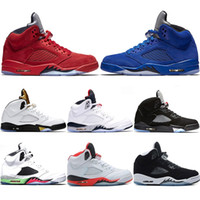 2018 Mens Basketball Shoes 5 5s Blue Red suede white Cement ...