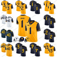 West Virginia Mountaineers 40 Pat McAfee 1 Shelton Gibson 1 Tavon Austin 2 Ka'Raun White 3 Stedman Bailey Football Jerseys S-3XL
