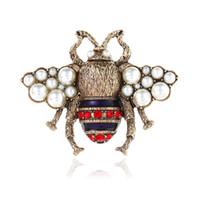 레트로 브 로치 귀여운 꿀벌 진주 핀 합금 보석 브 로치 유럽 미국 패션 쥬얼리 여성 선물 스폿 2 색 크리스탈 의류