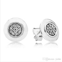 Authentic 925 Sterling Silver Earring Logo Signature WIth Cr...