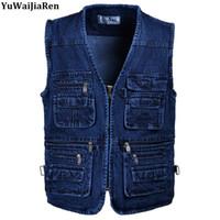 Standart Boy 5XL Denim Yelekler Erkekler Pamuk Çok Cep Jean Ceket Jile Erkek Askeri Yelek Masculina Jaquetas Yüksek Kalite