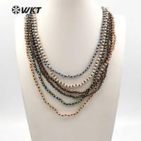 WT-N1114 WKT nouvelle arrivée perle de cristal naturel long collier couleur multi facultatif longueur peut être fait sur commande de haute qualité collier