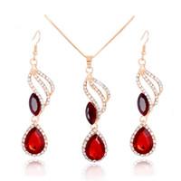 H: HYDE moda set di gioielli da sposa Vendita calda classico goccia d'acqua orecchini di cristallo rosso strass collane gioielli Set