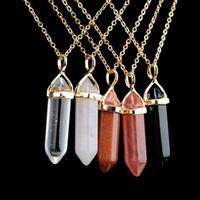 حار بيع العمود سداسية الكوارتز القلائد المعلقات خمر الحجر الطبيعي رصاصة كريستال قلادة للنساء مجوهرات
