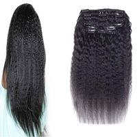 Перуанский Девы волос 10шт/набор 120г перуанский Реми Kinky прямая человеческих волос зажим в расширений кудрявый прямой грубая Яки естественный клип INS