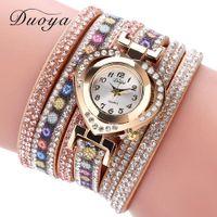 La vendimia del corazón del Rhinestone Vestido de la manera pulsera de las mujeres del reloj Duoya Marca Flor del reloj de reloj de pulsera de oro de las señoras de
