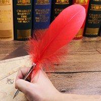الأزياء ريشة الريشة قلم 14 ألوان أقلام حبر ل هدية الزفاف مكتب المدرسة الكتابة المورد