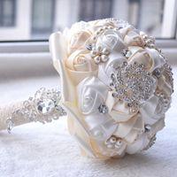Buquês de noiva de casamento de seda com flores artesanais peals de luxo cristal rhinestone rosa casamento suprimentos noiva segurando broche bouquetcpa1547