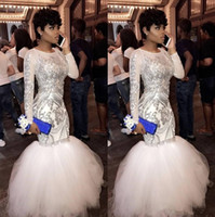 Charming Mermaid Sequined Prom Dresses With Long Sleeves Jew...