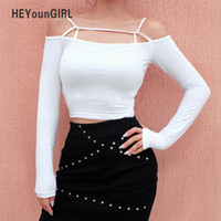 HEYounGIRL Casual White Crop Top Long Sleeve Off Shoulder Wo...