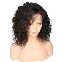 Schwarze kurze afro kinky lockige natürliche haare hitzebeständige perruque afro perücken synthetische spitze vorne kinky lockige perücke für schwarze frauen fzp21