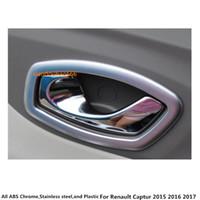 Heißer Verkauf Auto Styling Body Cover Aufkleber Trim ABS Chrome / Matte Tür Innere Gebäude Griff Schüssel Rahmen Lampe 4 stücke Für Renault Captur 2015 2016 2017