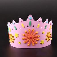 DIY El Yapımı Kap Çocuk Çocuklar Için Ayarlanabilir 3D EVA Taç Şapka Doğum Günü Partisi Prenses Kral Şapka Yeni Varış 2 1 ...