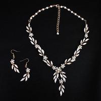 2019 stile coreano foglie d'oro foglie orecchino collana set headban copricapore strass cristallo fiore flower perle perle da sposa gioielli da sposa gioielli da sposa