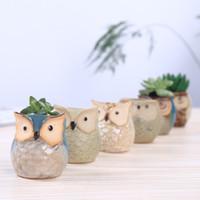 Potenciômetros de flor de forma coruja cerâmica para planta carnuda plantador de estilo animal plantador decoração de escritório