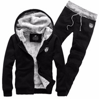 Fashion Thick Velvet sporting suit men warm hooded tracksuit track  Hoodie sweat suits set zipper black Sweatshirts