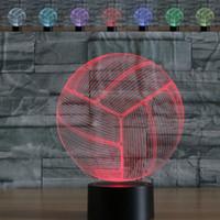 추상 3D 착시 배구 다채로운 조명 효과 터치 스위치 USB 전원 LED 장식 밤 빛 책상 램프