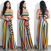Woman Sexy Clubwear Party Evening Striped Print Two Piece Ba...