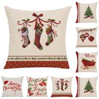 Décoration de Noël Joyeux Noël Lettres Carré Taie D'oreiller Bell Taie D'oreiller pour La Maison Canapé Noël Décor