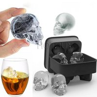 3D Skull Flexible Silicone Ice Cube Mold Tray Makes Four Gia...