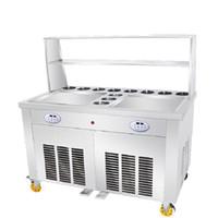 11 개 상자 45x45cm 광장 플랫 팬 110V 220V 상업용 전기 튀김 요구르트 기계 아이스크림 롤 기계