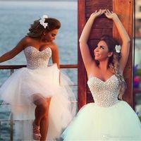 Изысканный Жемчуг Привет-Lo Короткие Пляж Свадебные Платья 2018 Casomento Сексуальный Корсет Из Бисера Милая Высокая Низкая Свадебные Платья