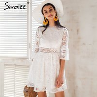 Simplee Hollow out lace dress women Button half sleeve stree...