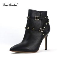 Spring Autumn Women Studded Rivet Shoes Ladies Pointed Toes ...