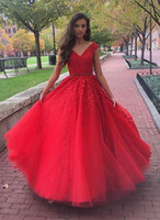 Red Tulle Appliques sweet 16 dresses Prom Dress Sexy Ball Go...