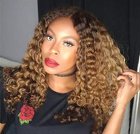 Ombre Blond T # 1b # 27 volle Spitze-Menschenhaar-Perücke Afro verworren Curly brasilianisches Haar Mittlerer Teil 150% Dichte vordere Spitze Remy Perücke mit Baby-Haare