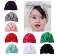 Новая Европа США детские шапки кролика уха шапки тюрбан узел головы обертывания младенческой дети Индия шляпы уши крышка детское молоко Шелковая Шапочка