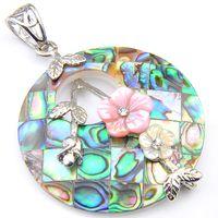"""Luckyshine круглый натуральный ушко оболочки подвески стерлингового серебра 925 покрытием женщины цветок кулон ювелирные изделия унисекс 1.5 """" дюймов"""