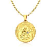 45mm Annesi Tanrı Meryem Ana Kolye Kolye Hıristiyan Takı Altın Kaplama Paslanmaz Çelik Kolye Kolye Erkekler Için Rhinestone Ile