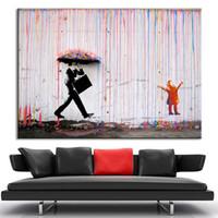 Wall Art Canvas Pinturas Abstratas Cor Viva Modern Oil imagem No Frame Banksy Art parede chuva colorida decoração Home