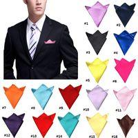 20PCS 16 colori del fazzoletto di tasca Men S Hanky raso massello naturale Tute Pochette Maschio signore di cerimonia nuziale del partito fazzoletto da regalo