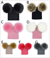Kids knitted hat big double pompons knitting baby hat 7 colo...
