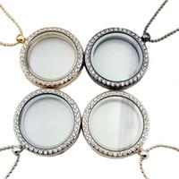 Kristall-Floating-Medaillon Halskette Silber Gold runder Rahmen Anhänger Modeschmuck für Frauen Kinder werden und sandige Drop Shipping