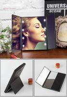 LED зеркало для макияжа LED макияж зеркала складных внутри батареи мини складных портативных складного Compact Cosmetic с LED Light розничной упаковкой.