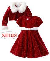 2 - 10years 크리스마스 크리스마스 산타 소녀 공주 드레스 모피 목에 2PCS 도트 프린트 여자 코트 무료 배송 세트